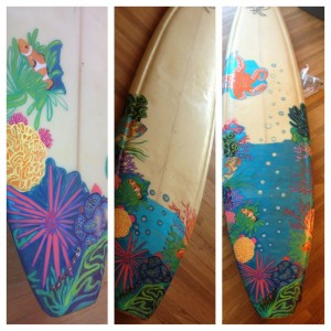 Coralynn's Art on Surf Board